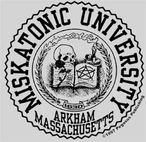 Miskatonic University Seal T-Shirt 100% cotton.