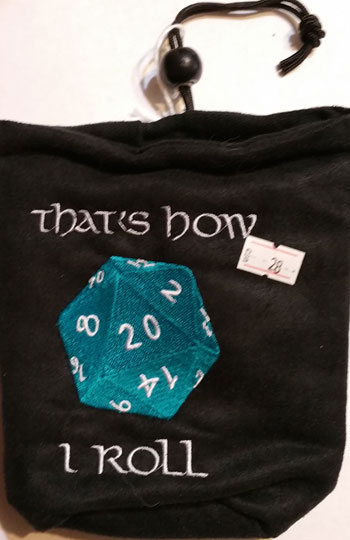 D20 How I Roll Dice Bag Blue